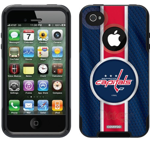 Washington Capitals® - Jersey Stripe design on a Black OtterBox® Commuter Series® Case for iPhone 4s / 4 at Amazon.com
