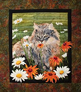 Flo flo cat in garden toni whitney designs applique quilt pattern fabric kit - Appliques flos ...