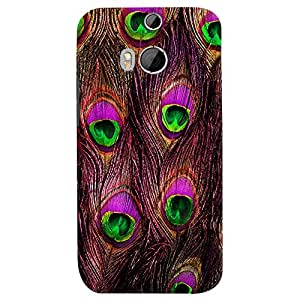 ColourCrust HTC One M8 Mobile Phone Back Cover With Peacock Feather Pattern Style - Durable Matte Finish Hard Plastic Slim Case