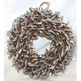 Corona da appendere con Tronchetti brillantinati argento. Ghirlanda diam.25 cm