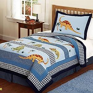 Amazon.com: Brandream Kids Boys Blue Dinosaur Bedding Set ...