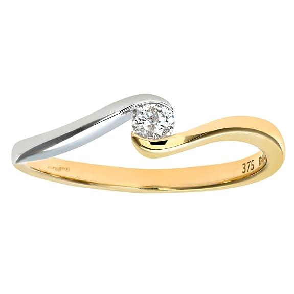 Naava 9ct Yellow/White Gold Diamond Single Stone Twist Ladies Ring