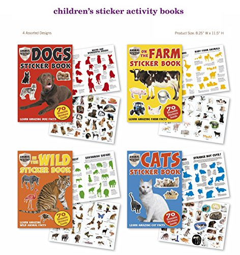 Farm, Zoo, Cat, Dog, Wild Animals Stickers 4 Sticker Activity Books 280 Stickers w/ Amazing Animal Facts Stickers for Kids, Boys, Girls
