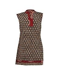 Karni Women's Cotton Black & Brown Kurti