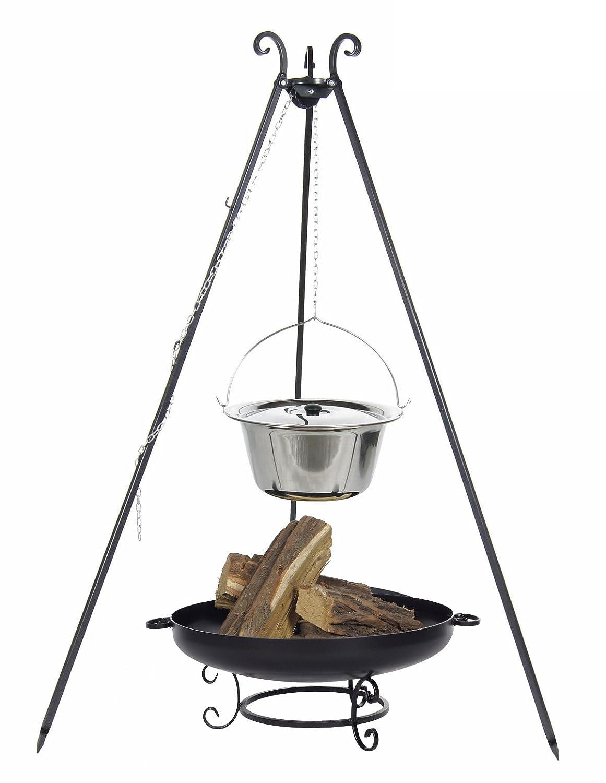 Gulaschkessel 10 ltr. Edelstahl mit Deckel auf Dreibein, inkl. Feuerschale # 42 online kaufen