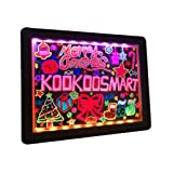 Kookoosmart LED Writing Message Board, Neon Glow Drawing Board, Light Up Flashing Box Message, Erasable Board Arts and Acrylic Kids Crafts Doodle, for Shop/School/Bar/Cafe (40×30CM) (Color: BLACK, Tamaño: 16×12 in)