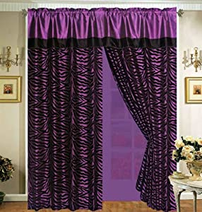 4 Pieces Faux Silk Purple with Black Zebra Window Curtain / Drape Set with Sheer Backing from JR Home