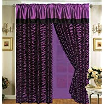 Purple with Black Faux Silk Zebra Window Curtain And Drape Set with Sheer Backing