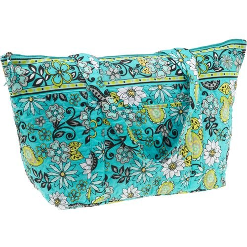 A. D. Sutton Floral Quilted Cotton Tote Bag Green/Blue