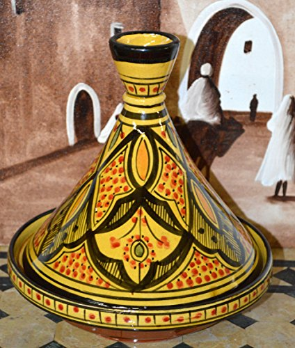 Moroccan Handmade Serving Tagine Exquisite Ceramic With Vivid colors 10 inches Diameter