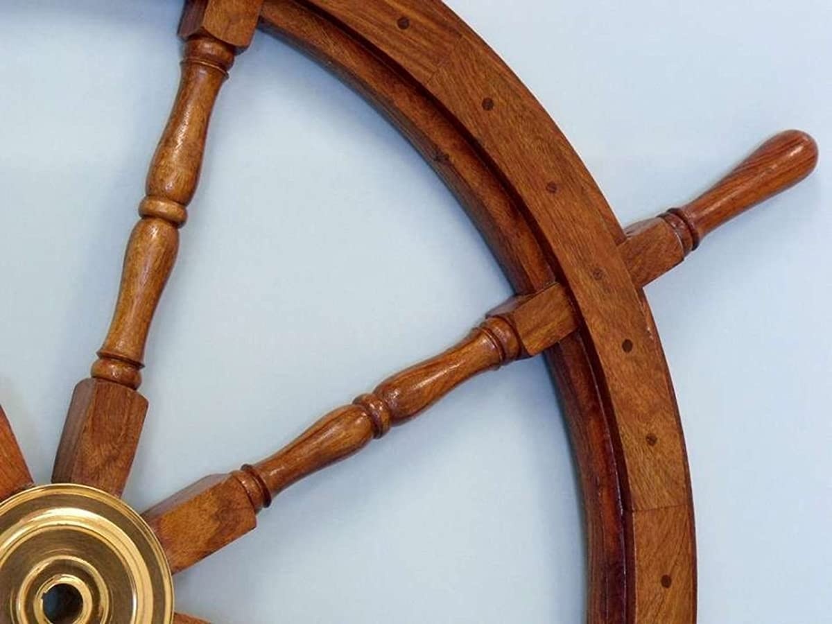 """NauticalDeluxe Class Wood and Brass Decorative Ship Wheel 36"""" - Nautical Home Decoration Gifts"""