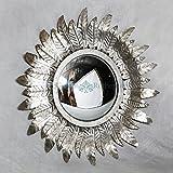 Belle Maison Modern Vintage Small Silver Leaf Round Sunflower Mirror