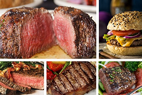 Black-Angus-Steak-Sampler-8-Cuts-16-Burger-Patties-Filet-Ribeye-Sirloins-Beef-Flat-Iron-Marinated-Chicken-Chicago-Steak-Company