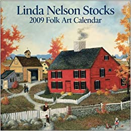 Linda Nelson Stocks Folk Art 2009 Mini Wall Calendar