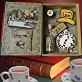 Alice in Wonderland Tea Party Set with Chapter 7 A Mad Tea-Party Booklet, Cookies and Chocolate Candy Cake - Birthday Playset