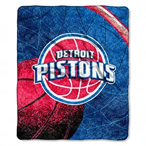 NBA Detroit Pistons 50-Inch-by-60-Inch Sherpa on Sherpa Throw Blanket Reflect Design by Northwest