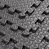 "Soozier Exercise Interlocking Protective Flooring - 24"" x 24"" x 3/8"" Tiles - Black Diamond Plate"