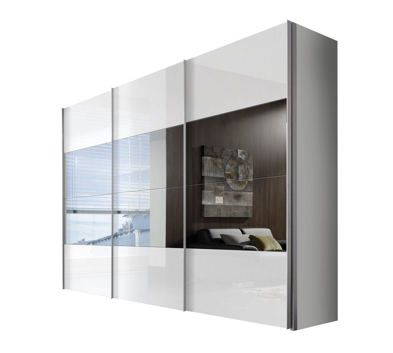 Solutions 49670-203 Schwebetürenschrank 3-türig, Korpus polarweiß, Front lack weiß, Spiegel, Griffleisten alufarben, 68 x 300 x 216 cm
