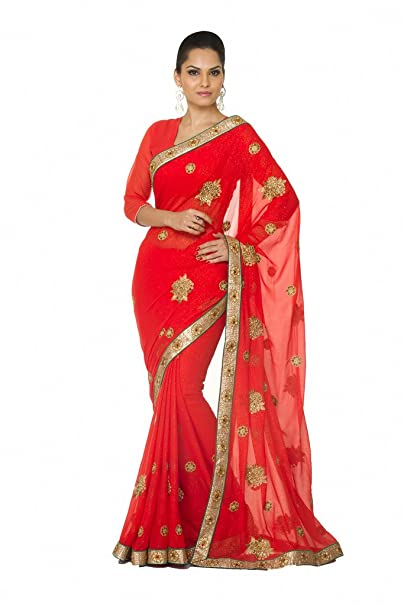 Oomph! Tomato Red Shimmer Georgette Embroidered Designer Saree for women party wear   wedding marriage christmas new year and pongal available at Amazon for Rs.1495