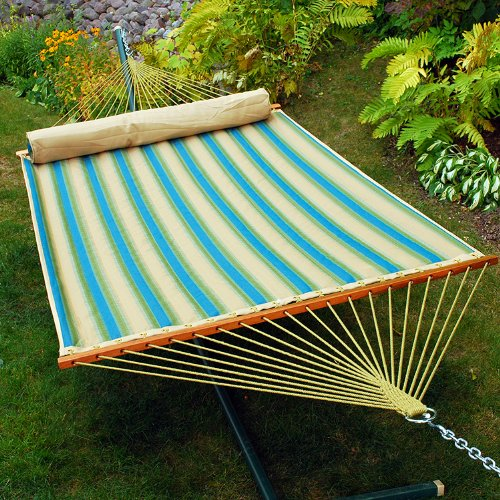 82″ x 55″ Tan & Ocean Blue Striped Reversible Quilted Double Hammock with Pillow