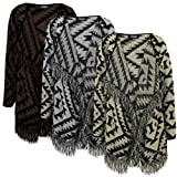 Sofias Closet Womens Aztec Knitted Tassel Open Cardigan Long Sleeved Fringe Style Stretch Fit