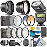 52MM Complete Accessory Kit for NIKON DSLR (D5300 D5200 D5100 D5000 D3300 D3200 D3000 D90 D80) - Includes: 0.43x Wide Angle & 2.2x Telephoto High Definition Lenses + Altura TTL Dedicated Flash + Remote Control + Vivitar Filter Kit (UV, CPL, ND8) + Vivitar Macro Close-Up Set + 2 Color Filters + Filter Wallet Pouch + Collapsible Lens Hood + Tulip Lens Hood + Center Pinch Lens Caps + Pop-Up and Soft Flash Diffuser Kit + Altura Photo Cleaning Kit with MagicFiber Microfibers