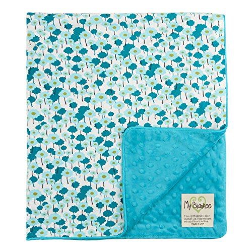 "My Blankee Pick-a-Bunch Organic Cotton Aqua w/ Minky Dot Turquoise Baby Blanket, 30"" X 35"""