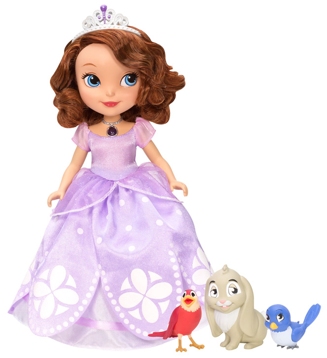 Princess Sofia doll wears a glowing amulet and can speak phrases with