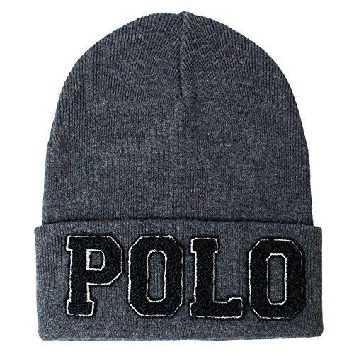 POLO RALPH LAUREN (ポロラルフローレン) 【ユニセックス】 ニットキャップ ニット帽 ビッグ ロゴ刺繍 ビーニー 帽子 POLO CHENILLE VARSITY HAT (CHARCOAL/BLACK チャコール/ブラック) 6F0435-033