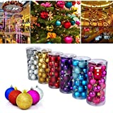 24 Pcs Multicolored Christmas Glitter Shiny Balls Gift Pack For Home Party Christmas Decoration