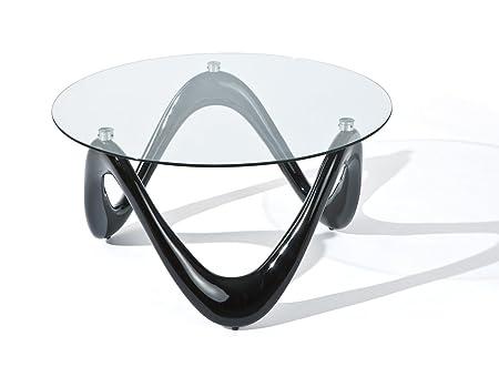 Links 20801370 Couchtisch Valentine, Fiberglas Glas, 80 x 80 x 42.5 cm, schwarz
