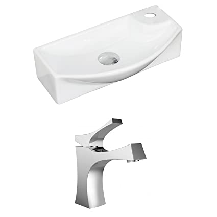 "American Imaginations AI-15344 Rectangle Vessel Set with Single Hole CUPC Faucet, 18"" x 9"", White"