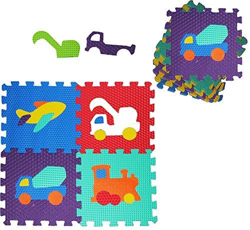 10 tlg Set: Puzzle Teppich aus Mossgummi - verschiedene Auto & Fahrzeuge - zum puzzeln / Puzzleteppich - Spieleteppich Puzzlematte - Spielmatte Kinderteppich - Bodenmatte
