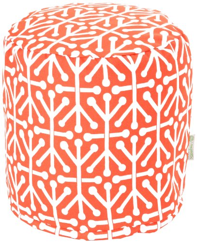 Majestic Home Goods Aruba Pouf, Small, Orange front-724670