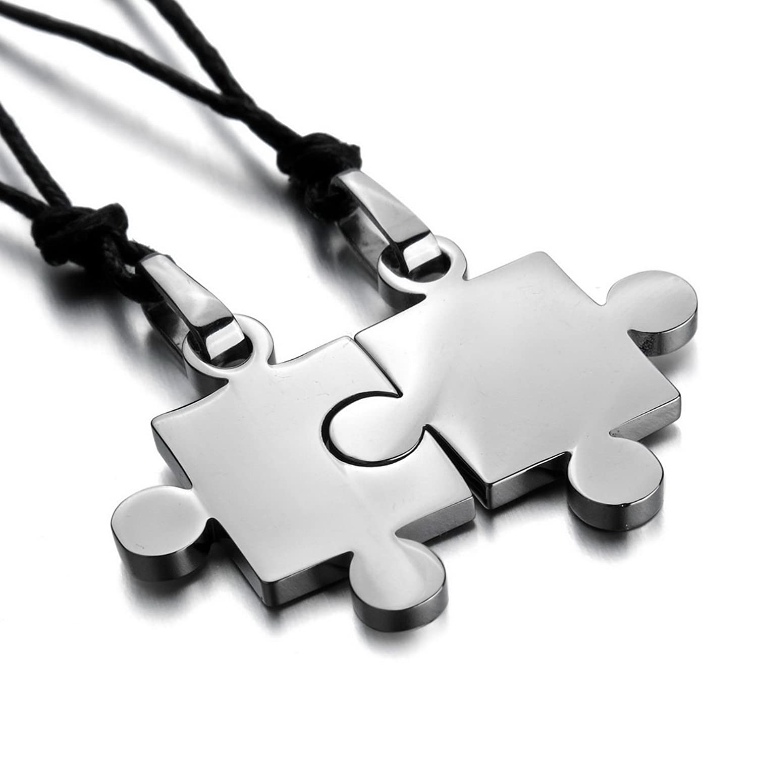 Men, Women's 2PCS Stainless Steel Pendant Necklace Silver Jigsaw Puzzle Love Valentine's Couples His & Hers Set Adjustable 20~22 Inch Chain: Boyfriend And Girlfriend Stuff
