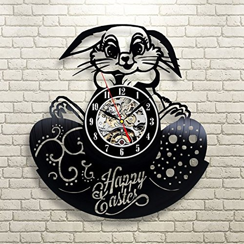 Easter Bunny Happy Wall Clock - Decorate your home with Modern Easter Egg Holiday Art - Best gift for friend, mom and dad - Win a prize for feedback (Easter Seals Calendar 2015 compare prices)