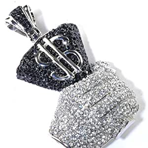 Platinum Plated Hip Hop Crystals Iced Micro Pave Mens Bling Hand Holding Dollar Bill Pendant