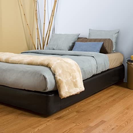 Howard Elliott 242-194S Faux Leather Platform Bed Kit and Cover, Queen, Black