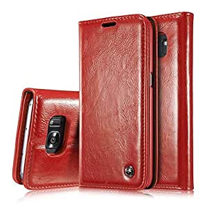 S7 edge Case, Galaxy S7 edge Wallet Case,AIREBO Slim Genuine Leather Magnet Cover Wallet Leather Case Flip Cover Folio Case,[Card Slot][Wallet][Magnetic Closure] for Samsung Galaxy S7 edge (Wine Red)