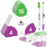 Star Right Math Triangle Flash Cards, Multiplication and Division Facts 0-12, Double-Sided, 2 Write and Wipe Cards Included, 2 Erasable Markers, for Ages 8 & Up (Tamaño: Triangle Flash Cards)