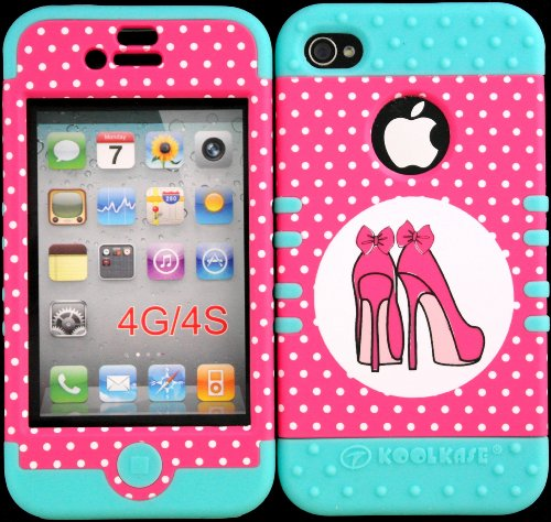 Bumper Case For Iphone 4 4S Pink Shoes Design Hard Plastic Snap On Baby Teal Silicone Gel front-439124