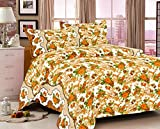 Sarang Dispatch Yellow Floral Cotton Double Bedsheet With Two Pillow Cover