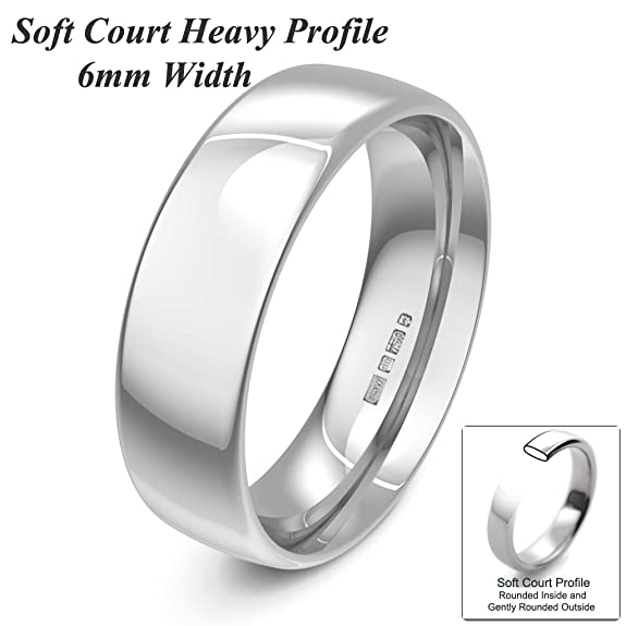 Xzara Jewellery - 9ct White 6mm Heavy Court Profile Hallmarked Ladies/Gents 6.9 Grams Wedding Ring Band
