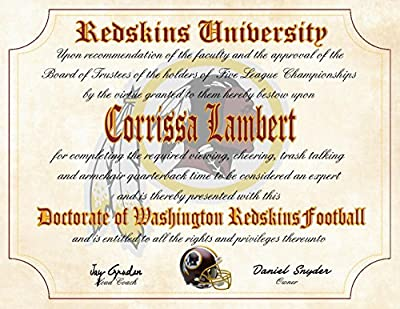 """Washington Redskins Ultimate Fan Personalized Diploma - Perfect Gift - 8.5"""" x 11"""" Parchment Paper"""