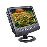 7 Inch LCD Display Analog TV FM MP3 USB Slot Auto Car Reader Digital Mobile TV(Color:Black) (Color: US plug)
