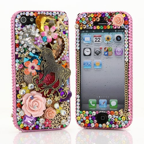 Best Price BlingAngels® 3D Luxury Bling iphone 5 5s Case Cover Faceplate Swarovski Crystals Diamond Sparkle bedazzled jeweled Design Front & Back Snap-on Hard Case + FREE Premium Quality Stylus and Water-Resistant Bag (100% Handcrafted by BlingAngels) (Unicorn with Diamond Flowers Design)