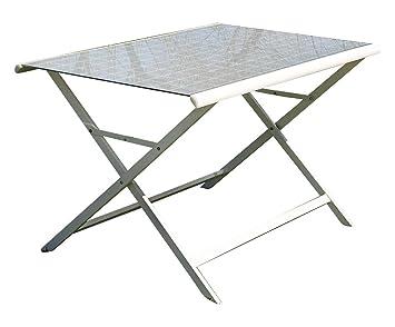 Tomasucci Positano tavolo pieghevole in alluminio bianco piano in vetro e tessuto tecnico