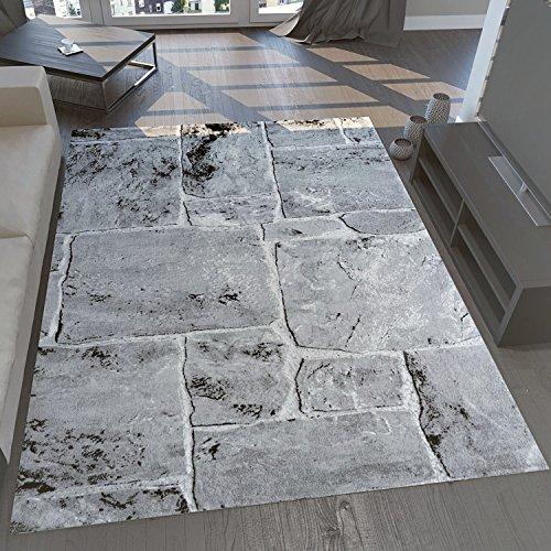 VIMODA tibet7413 classico soggiorno tappeto, molto dich tessuti, Pietra muro aspetto, di alta qualità, grigio, 120 x 170 cm