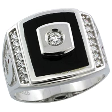 Revoni Sterling Silver Men's Black Onyx Ring w/ CZ Stones & Dolphins on Sides, 11/16 in. (17mm) wide