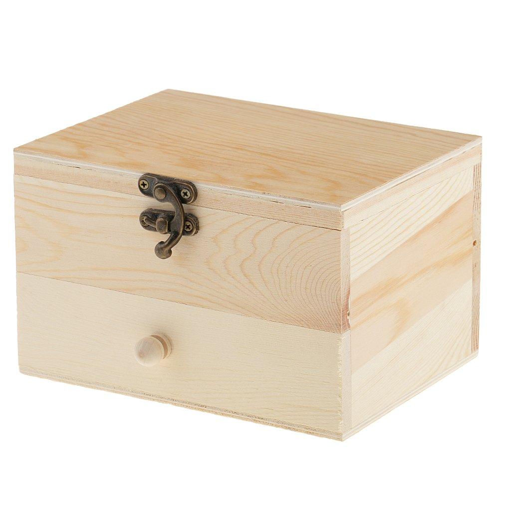 Monkeyjack 2 Tiers Plain Unpainted Wooden Jewelry Box Organizer